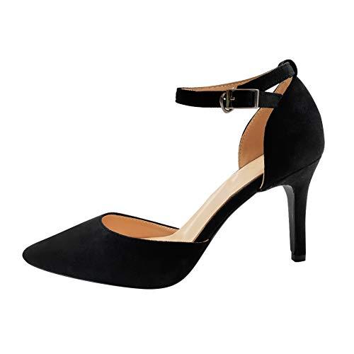 Uirend donna scarpe col tacco - fibbia cinturino alla caviglia tacco alto sandali scarpe a punta a spillo in camoscio décolleté eleganti ufficio lavoro