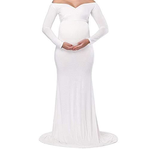 Frauen Schwangerschaftskleid chwangere Elegante Fotografie Stützen Off Schultern Mutterschaft Krankenpflege Kleid Langarm Maxi Kleid (S, Weiß) -