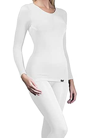 1 Nr Damen echte Original thermische warme Tog Wärmehalter Langarm-Unterhemd / T-Shirt - Weiß - Klein / Medium S / M