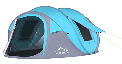 EZOLY 3-4 Personen Outdoor Wandern Einfach Pop Up Camping Zelt Automatische Einrichtung Zelte, wasserdichter Sonnenschutz, Blau