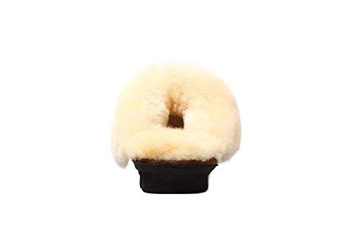 WARMIE Australische Lammfell Schaffell Hausschuhe Hüttenschuhe Fußwärmer | Extra Flauschig Hausschuhe für Damen, Männer Chestnut 2