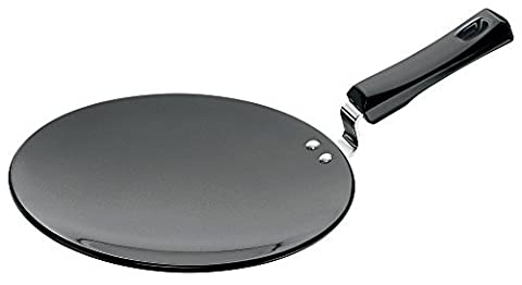 Futura Hard Anodised Concave Tava Griddle, 10-Inch, 6.35mm with Plastic Handle by Futura