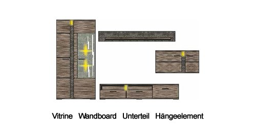 4-tlg. Wohnwand mit Korpus sowie Fronten in San Remo Eiche-dunkel Nachbildung und Absetzungen in Schiefer-Dekor, Maße: B/H/T ca. 331/202/54 cm - 4