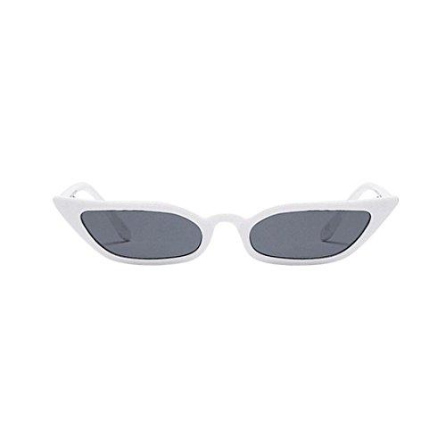 Amcool Damen Vintage Katzenaugen Sonnenbrille Retro Kleine Rahmen UV400 Brillen (Weiß)