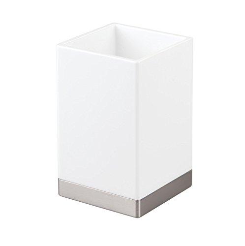 InterDesign Clarity Bicchiere bagno, Contenitore bagno in plastica, bianco/argento opaco