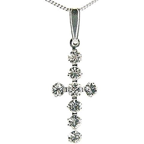 Ciondolo a forma di croce in cristallo con elementi Swarovski Sterling catena di TOC - Croce Ab Cristallo