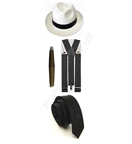 Maskenkostüm für Erwachsene, Gangster Pimp, Hut, Hosenträger, Krawatte, Zigarre, 1920er Jahre, Mafia