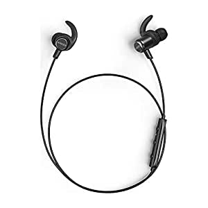 Anker Bluetooth Headphones, SoundBuds Slim+ Wireless Headphones, Bluetooth 4.1 Lightweight Stereo Earbuds with Customizable Accessories, Sports Headset with Metallic Housing & Built-in Mic (Black)