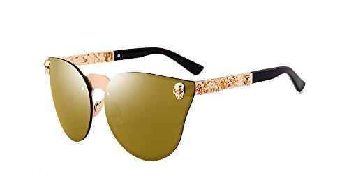 BOZEVON UV400 Damen-Herren arbeiten Retro- übergroße randlose Schädel Sonnenbrille Gold-Gold C1