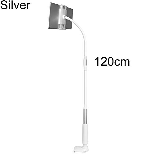 Sguan-wu Tablet Ständer Verstellbare, Ständer Tablet Halterung Flexibler Hals Tabelle Clip-on Tablet-Handyhalterung, für iPad Silver 120 cm