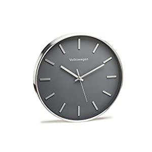 Volkswagen 33D050810 Wanduhr Original VW Uhr Ziffernblatt Designgehäuse Aluminium, grau/Silber