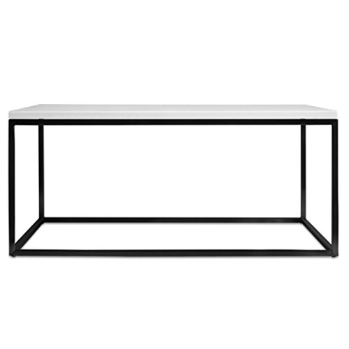 Filigraner Beton-Couchtisch Lacy (Gestell schwarz, Betonplatte weiß, 60x80 cm)