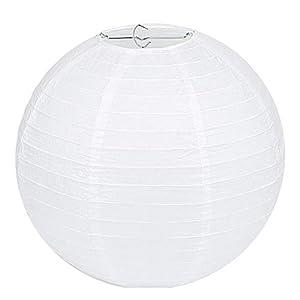 Lampenschirm Rund Weiß Papier Laterne Classic Bamboo Style Gerippter Lampenschirm Deko für Party Garten Hochzeit…