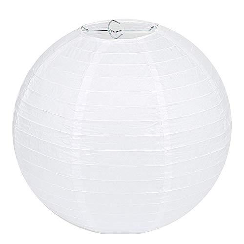 Papier Lampenschirme (LIHAO Lampenschirm Rund Weiß Papier Laterne Classic Bamboo Style Gerippter Lampenschirm Deko für Party Garten Hochzeit Dekoration (30 cm, 12