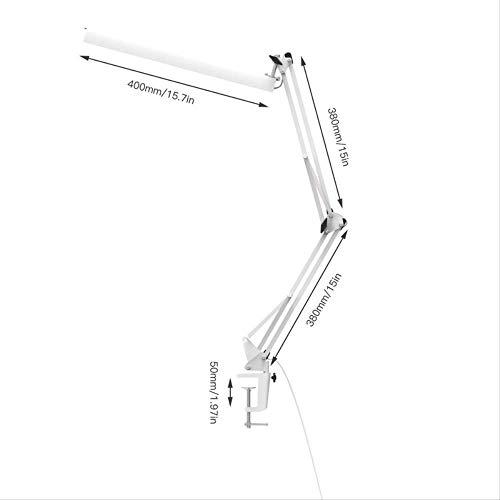 LYZHM Tischlampe Büroschreibtisch Clamp Lamp 3-Stufen-Dimmer mit verstellbarem Schwenkarm Architect Led-Tischlampe mit USB-Ladung, fürsorglich, weiß -