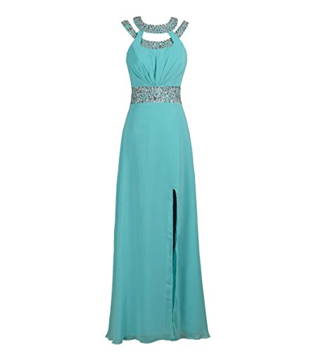 missydress Damen Jeweled Schlitz Chiffon 'bridesmaid A-Line Abend Ball Kleid 48 Gr. 40, Türkis (Jeweled Kleid Chiffon)