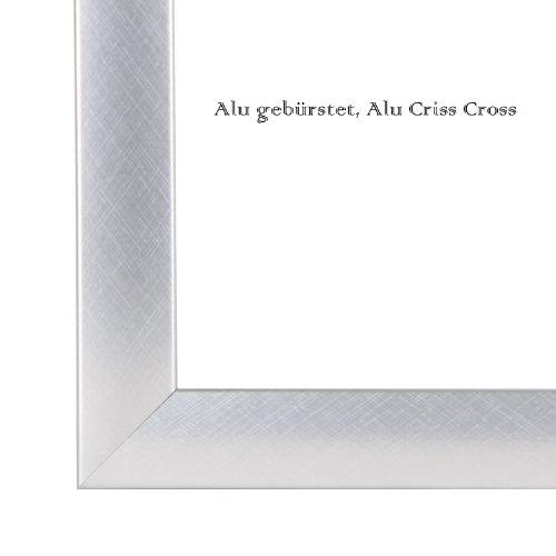 Bilderrahmen 84,1x118,9 cm (DIN A0), in Alu gebürstet (Alu Criss Cross) mit Rückwand und Acrylglas - Foto Galerie Poster Rahmen NEU