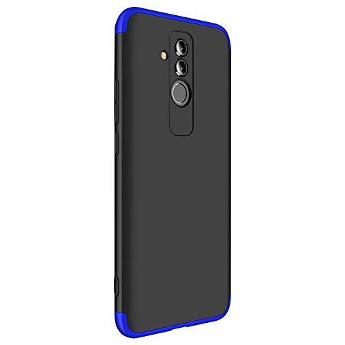 9-evei Huawei Mate 20 Lite Hülle, HandyHülle 3 in 1 Ultra Dünner PC Harte Case 360 Grad Ganzkörper Schützend Schutzhülle Tasche für Huawei Mate 20 Lite (Blau+Schwarz, Mate 20 lite) -