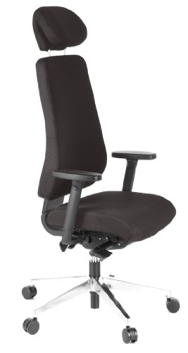 hjh OFFICE, 608400, Executive Chair, professional office chair, swivel, PRO-TEC 400, black, robust fabric, Ergonomic height adjustable backrest, seat depth adjustment, computer desk chair with fold-down headrest and adjustable armrests, Suitable up to 2.2 metres