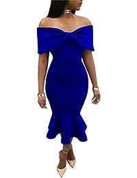Yajiemei Robe Sexy Femme Sexy avec nœud Papillon et Ourlet à Volants (Color    Blue,… 85dfc92193f