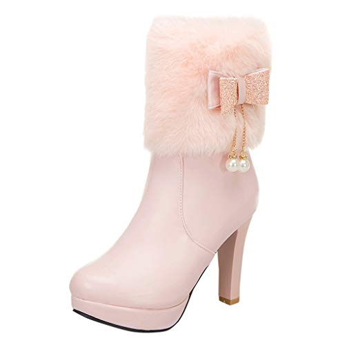 Winter Damen runde Kopf Stiefel Bogen Perle Anhänger niedrige Stiefel High Heel Schuhe Damen Stiefel Overknees mit Blockabsatz Schleifen Flandell -