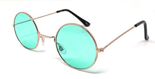UltraByEasyPeasyStore Gold Frame Mit Grünen Linsen Kleine Stil Erwachsene Retro Runde Sonnenbrille John Lennon Vintage Look Qualität UV400 Elton Brille Herren Damen Klassische Unisex Brillen