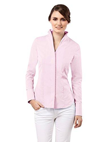 Vincenzo Boretti Damen Bluse mit Kelchkragen tailliert 100% Baumwolle bügelfrei Langarm Hemdbluse mit Stehkragen elegant festlich auch für Business Altrosa 38