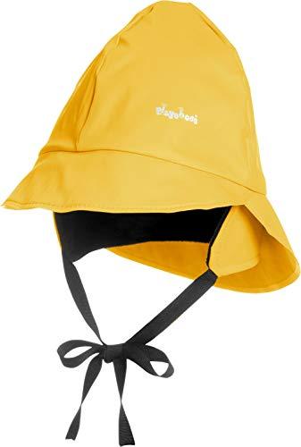 Playshoes Baby Regen-Mütze, wind- und wasserdichte Unisex-Mütze für Jungen und Mädchen mit Fleecefutter, mit Playshoes-Motiv, Gelb (12 gelb ), 47 cm - Laufen Mädchen Hut