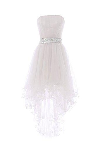 Beyonddress Damen Hi-Lo Abendkleider Asymmetrisch Trägerlos Ballkleid Perlen Taille Cocktailkleid Partykleid Weiß