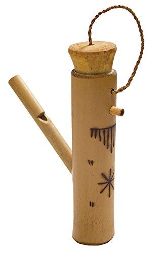 Bambuspfeife oder Vogelpfeife täuschend echte Vogel-Imitation Wasserpfeife mit Ornamenten verziert Naturgeräusch Klang Percussion Weltmusik -