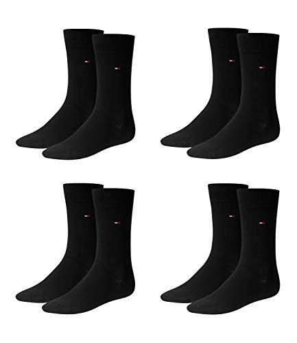 TOMMY HILFIGER Herren Classic Casual Business Socken 4er Pack (black / black, 43-46)