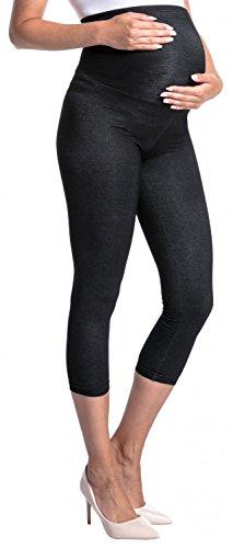 Zeta Ville - Leggings 3/4 prémaman effetto jeans cintura elastica - donna - 977c Jeans & Nero