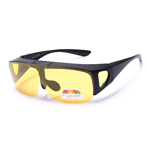 JUNXI Glasses Herren Kurzsichtige Sonnenbrillen Polarisierte Nachtsichtbrillen mit umschlagbarer Doppelfunktion