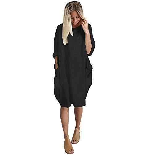BETUGIFT Damen Kleid Sommerkleid Baumwolle Kleider Rundhalsausschnitt Strandkleider Einfarbig Boho Plus Größen Knielang Lose Kleid mit Tasche Langes Dress
