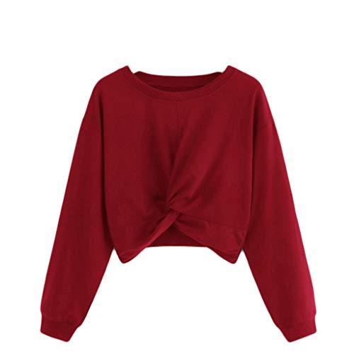Damen Kurz Crop Top Pullover Crewneck Pulli Sweatshirt Einfarbig Teenager Mädchen Bauchfrei Tops Langarm Jumper Oberteile Shirt Langarmshirt T-Shirt(Rot,S)