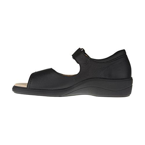 tessamino Damen Orthopädie Sandale aus Leder | Weite H | für Einlagen Schwarz
