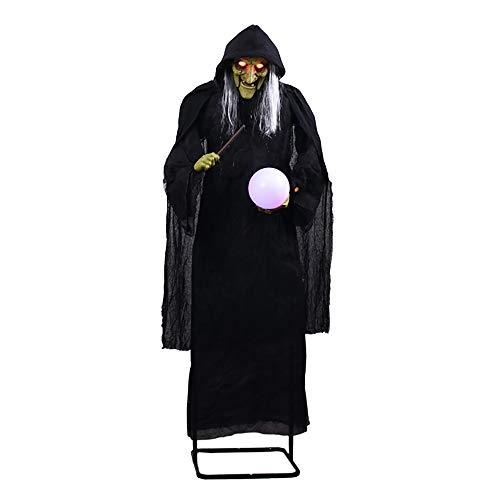 Shihsiboss Halloween-Dekoration, übergroße Horrorhexe, die einen Blitzball hält. Requisiten mit leuchtenden Augen (Halloween-veranda Beste Dekorationen)