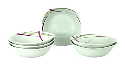 6 Pieces dinner/salad/cereal bowls Fashion, white porcelain with stripe pattern,