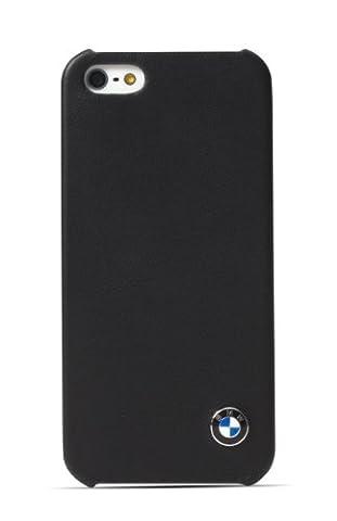 BMW BMHCP5LB Coque en simili cuir pour iPhone 5 Motif Licence Officielle BMW Noir