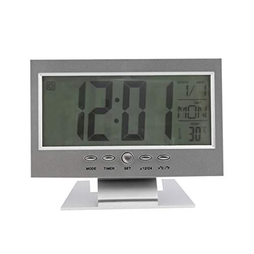 LYL- Wetterstationen Haushalt Sprachsteuerung Hintergrundbeleuchtung LCD Alarm Tischuhr Wettermonitor Kalender Mit Thermometer 15,5 * 11 * 3,5 cm (Color : Silver, Größe : 15.5 * 11 * 3.5CM)