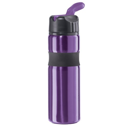 Oggi 8079.8 Lustre Contour Stainless Steel Sport Bottle with Flip Up Drinking Spout and Straw, 25-Ounce, Purple by Oggi