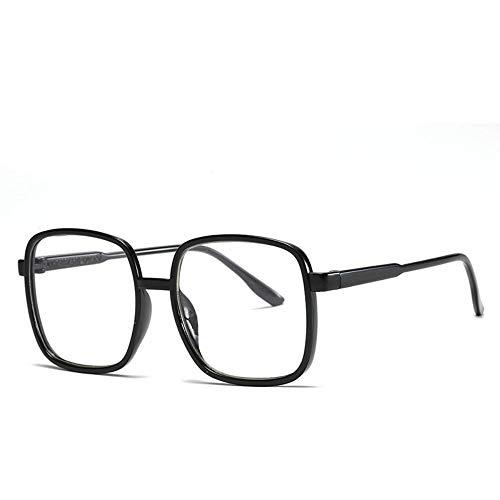 Sonnenbrille,Übergroße Männer Klare Linse Sonnenbrille Square Schilde Sommer Style Winddicht Gläser Für Frauen Retro Schwarz Rahmen Transparent Spiegel