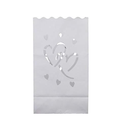 SUPVOX 20pcs Luminary Bags - Double Heart Design Candle Bags - Flammfester Lichthalter - Kerzenständer Dekorationen für Hochzeit, Halloween, Geburtstag - Weiß