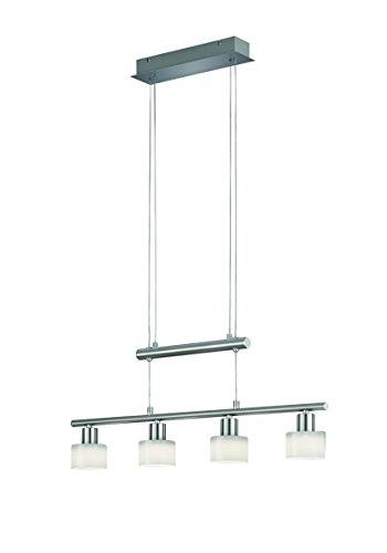 LED JoJo Pendelleuchte Hängeleuchte, inklusive 4x 4,5 W Osram LED 400 lm / 3000 K, Länge 70 cm, Höhenverstellbar 95-170 cm, nickel matt, Glas weiß glänzend R32514907