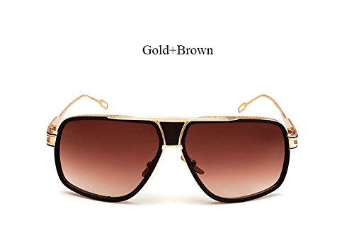Limotai Sonnenbrillesuper Für Männer Und Frauen Von Sonnenbrillen Sonnenbrillen Mit Flacher Oberseite 18 K Gold Herren Hohe Qualität, Yd 11 Gold Braun