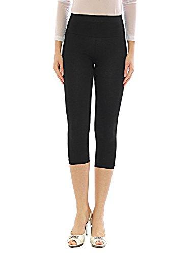 Damen Capri 3/4 Leggings Leggins Baumwolle Hose Wäsche hoher Bund schwarz XL (Leggings Xl Schwarze Capri)