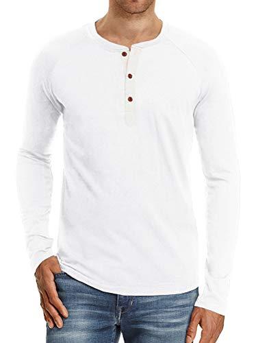 Minetom Herren T-Shirt Casual Langarm Tee Shirt Henley Loose Fit Übergröße Tops Mode Bluse Frühling Sommer Tasten Basic Hemd A Weiß EU S -