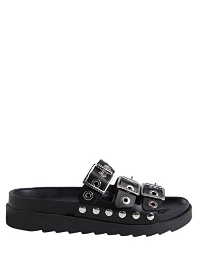 Pieces Black Leather Sandal by Black