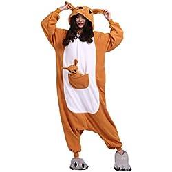 Kigurumi Pijamas Unisexo Adulto Cosplay Traje Disfraces Animal Ropa de Dormir Halloween y Navidad, Canguro