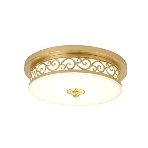 24W LED Antik Deckenleuchte Dimmbar Flurlampe Vintage Decken Lampe, Landhaus Rund Design Deckenlampe Metall Glas Deckenstrahler für Esszimmer Wohn-Schlafzimmer Bad Küche Licht Ø40*H12cm (Gold) -